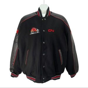 CN Rail Bomber Jacket Embroidered Leather Wool